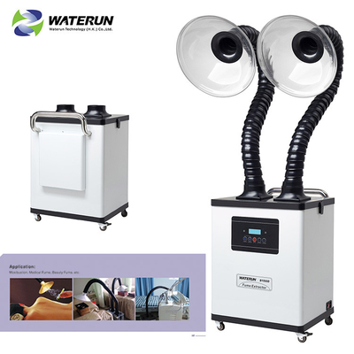 White Digital Display Two Tubes 110v Fume Extractor For Medical Fume And Beauty Fume